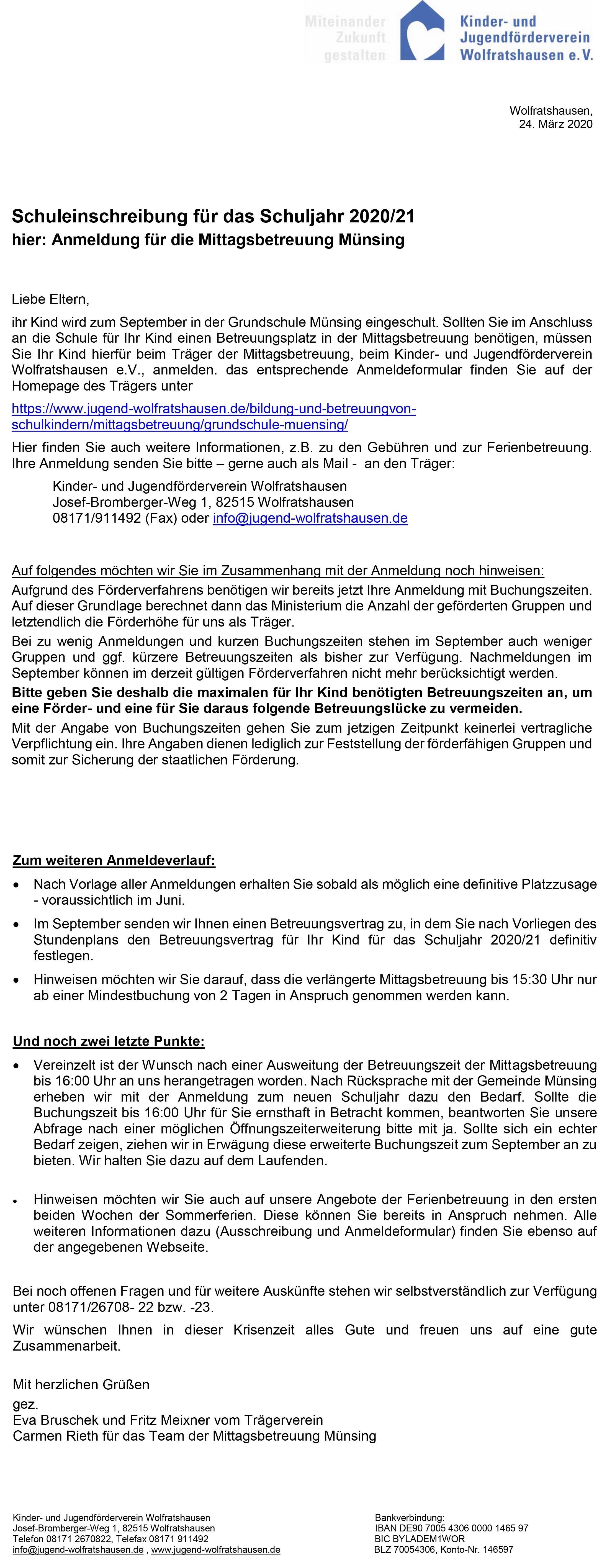 Informationen für die Anmeldung in der Mittagsbetreuung Münsing